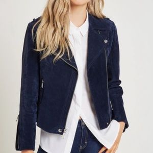 SL8 Blue Genuine Leather Suede Moto Jacket